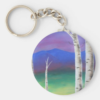 Trees in front of mountians at Sunset Key Chain