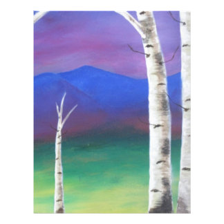 Trees in front of mountians at Sunset Personalized Letterhead