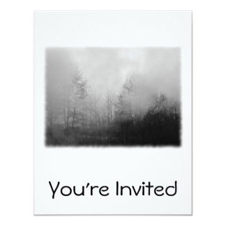Trees in Mist. Black and White. Card