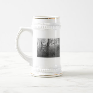 Trees in Mist. Black and White. Coffee Mugs