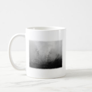 Trees in Mist. Black and White. Classic White Coffee Mug