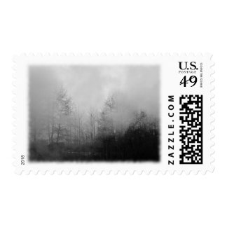 Trees in Mist. Black and White. Stamp