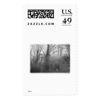 Trees in Mist. Black and White. Stamps