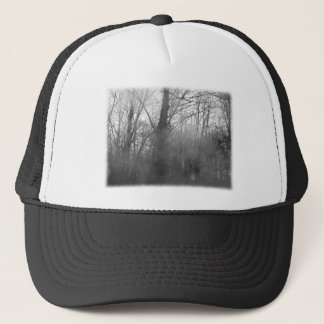 Trees in Mist. Black and White. Trucker Hat