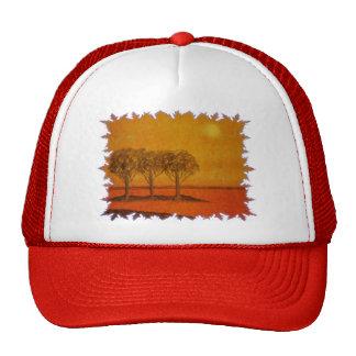 trees in orange scene trucker hat