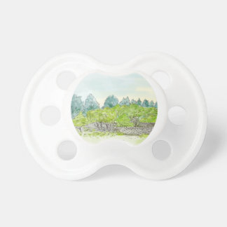 Trees in Park with Cornwall Oval Watercolor Pacifier