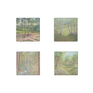 Trees in Pastel-Pine, Birch, Olive Marble Magnets Stone Magnet