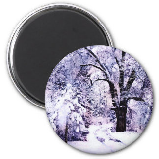 Trees in Snow 2 Inch Round Magnet