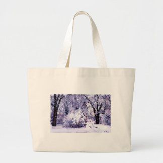 Trees in Snow Large Tote Bag