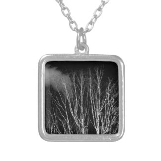 Trees in the black and white personalized necklace