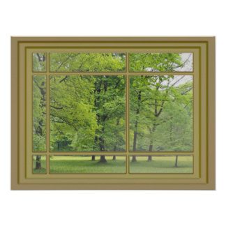 trees in the park window view poster