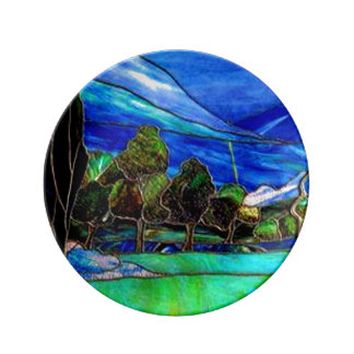 Trees Landscape Stained Glass Window Art Plate