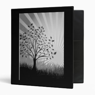 Trees, Leaves, Grass Silhouette & Sunburst B&W 3 Ring Binder