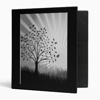 Trees, Leaves, Grass Silhouette & Sunburst B&W 3 Ring Binder