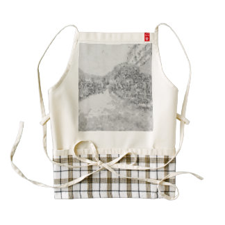 Trees lining both sides of a road zazzle HEART apron