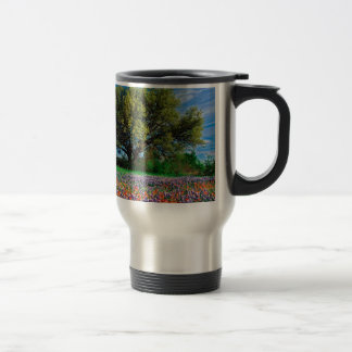 Trees Live Oak Among Texas Bluebonnets Travel Mug