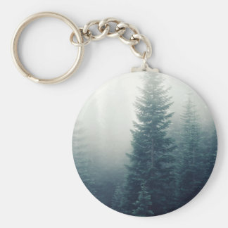 Trees of a Forest in fog Basic Round Button Keychain