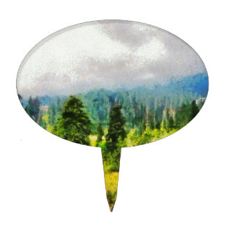 Trees on a mountain cake topper