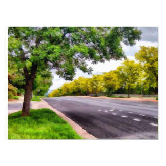 Trees on both sides of a road photo print