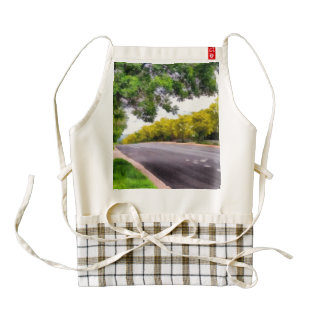 Trees on both sides of a road zazzle HEART apron