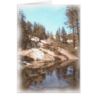 trees on lake painting card
