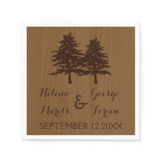 Trees on wood brown woodland wedding disposable napkins