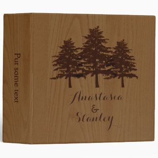 Trees on wood brown woodland wedding planner 3 ring binder