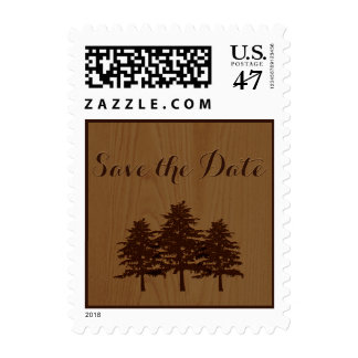 Trees on wood brown woodland wedding Save the Date Postage