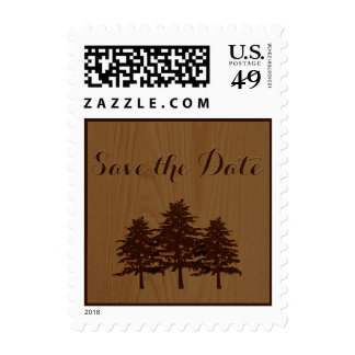 Trees on wood brown woodland wedding Save the Date Postage Stamps