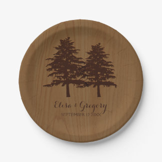 Trees on wood brown woodland wedding 7 inch paper plate