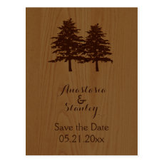Trees on wood woodland wedding Save the Date Postcard