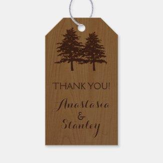 Trees on wood woodland wedding Thank You