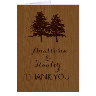 Trees on wood woodland wedding Thank You Card