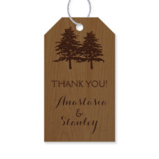 Trees on wood woodland wedding Thank You Pack Of Gift Tags