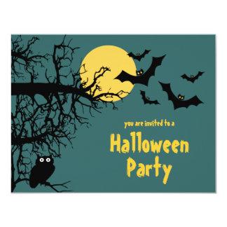 "Trees Owl & Bats By Moon Halloween Party Invite 4.25"" X 5.5"" Invitation Card"