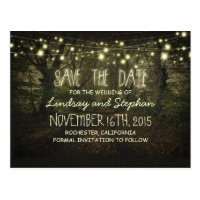 trees path romantic string lights save the date postcard