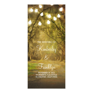 Trees Path String Lights Wedding Programs