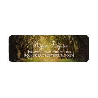 Trees path wedding label