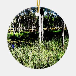 TREES & POND,DAM ABSTRACT PHOTO AUSTRALIA ROUND CERAMIC DECORATION
