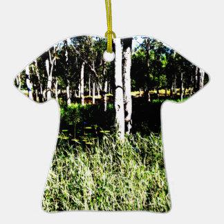TREES & POND,DAM ABSTRACT PHOTO AUSTRALIA CERAMIC T-Shirt DECORATION