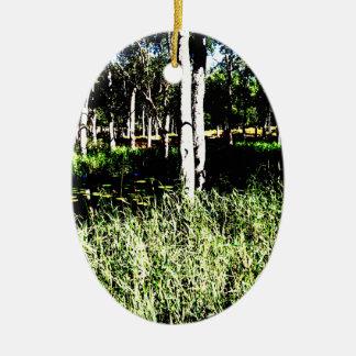 TREES & POND,DAM ABSTRACT PHOTO AUSTRALIA CERAMIC OVAL DECORATION