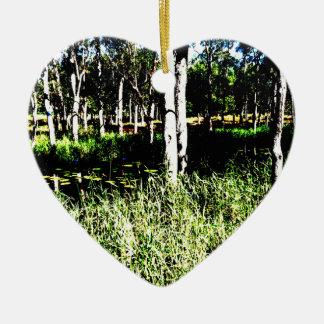 TREES & POND,DAM ABSTRACT PHOTO AUSTRALIA CERAMIC HEART DECORATION