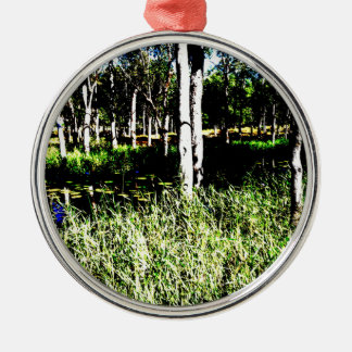 TREES & POND,DAM ABSTRACT PHOTO AUSTRALIA Silver-Colored ROUND DECORATION