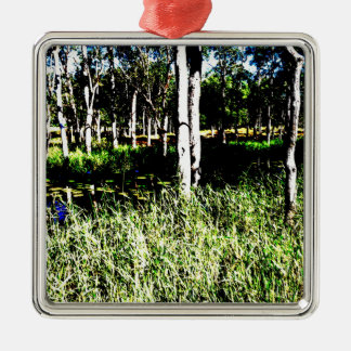TREES & POND,DAM ABSTRACT PHOTO AUSTRALIA Silver-Colored SQUARE DECORATION