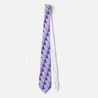 Trees Purple Christmas Star Tie
