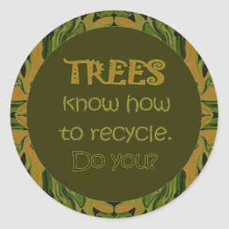 trees recycle message classic round sticker