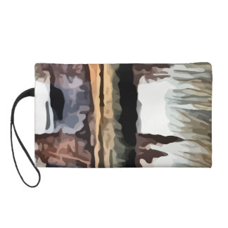 trees reflecting off the water painting. wristlet