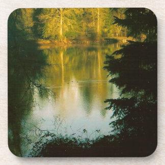 Trees Reflecting on Lake Beverage Coaster