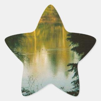 Trees Reflecting on Lake Star Sticker