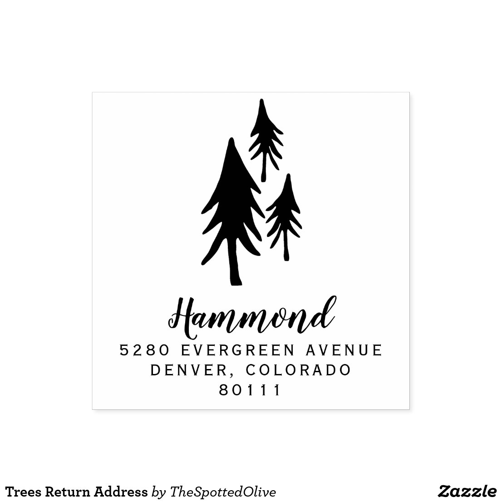 Trees Return Address Rubber Stamp